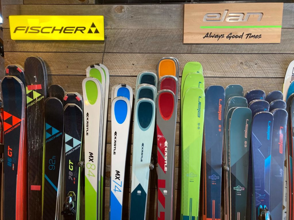 New skis from Fischer, Kastle and Elan at Skiology Ski and Sports ski shop in Killington, Vermont